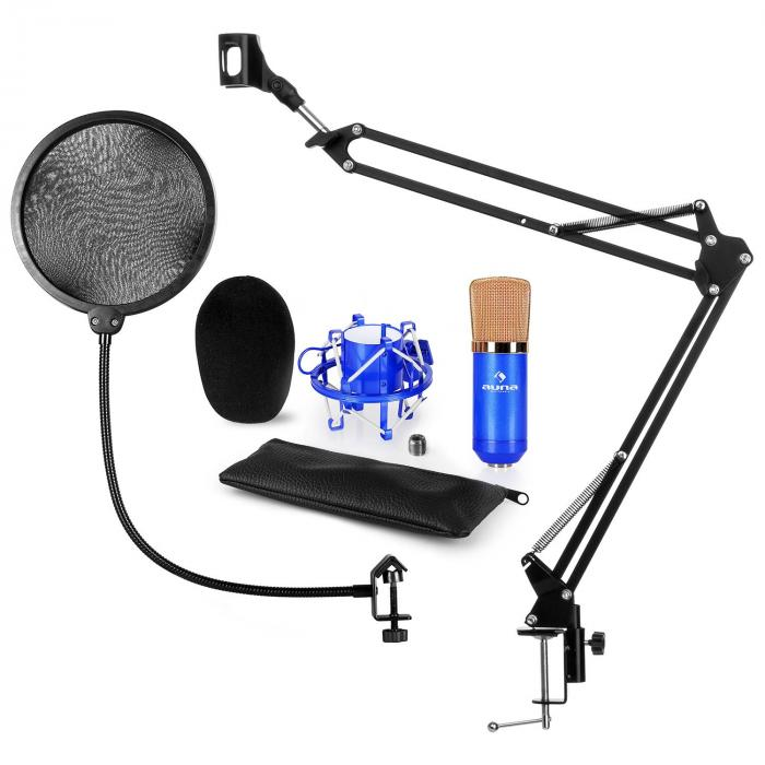 CM001BG Set microphone V4 à condensateur perchette filtre anti pop blue