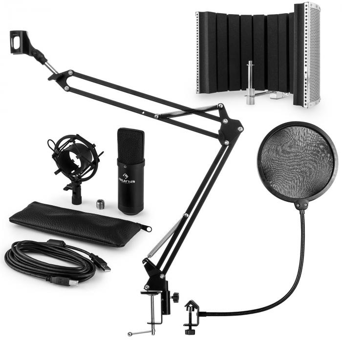 CM001B set microphone V5 micro condensateur perchette protection POP écran - noir