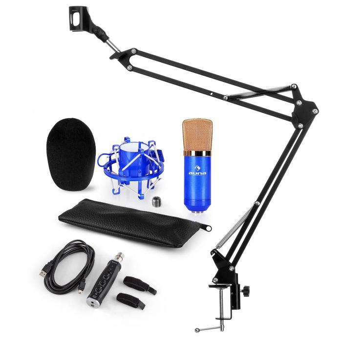 CM001BG Mikrofon-Set V3 Kondensatormikrofon USB-Adapter Mikrofonarm blau