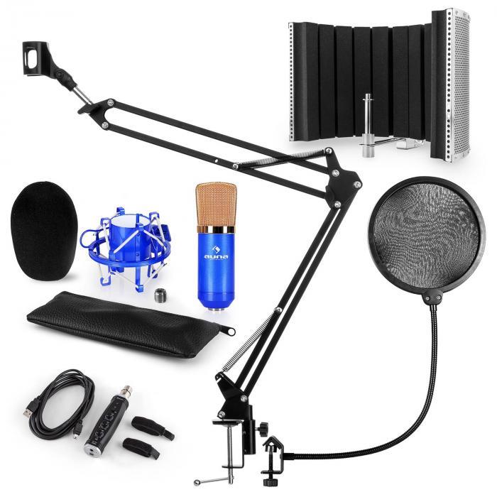 CM001BG Set de micrófono V5 Micrófono de condensador Adaptador USB Brazo de micrófono Protección anti pop escudo