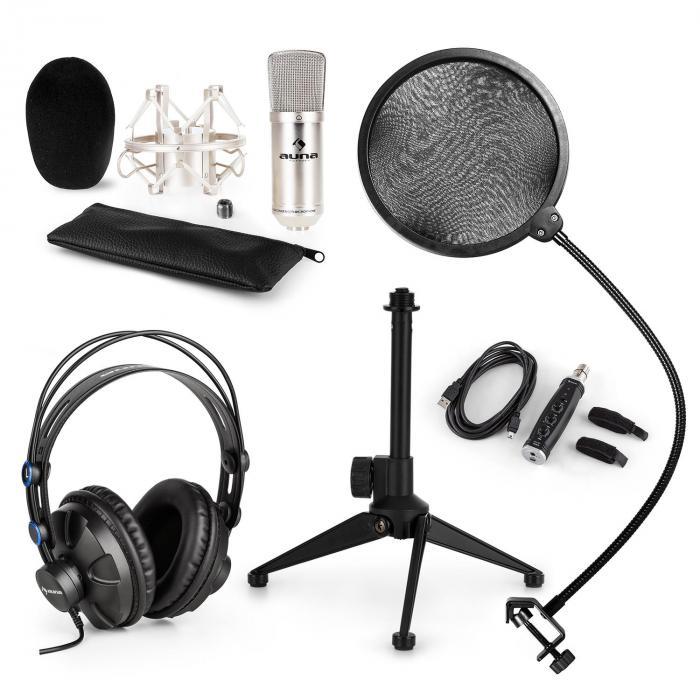 CM001S Set V2 Microphone à condensateur + Casque - argent