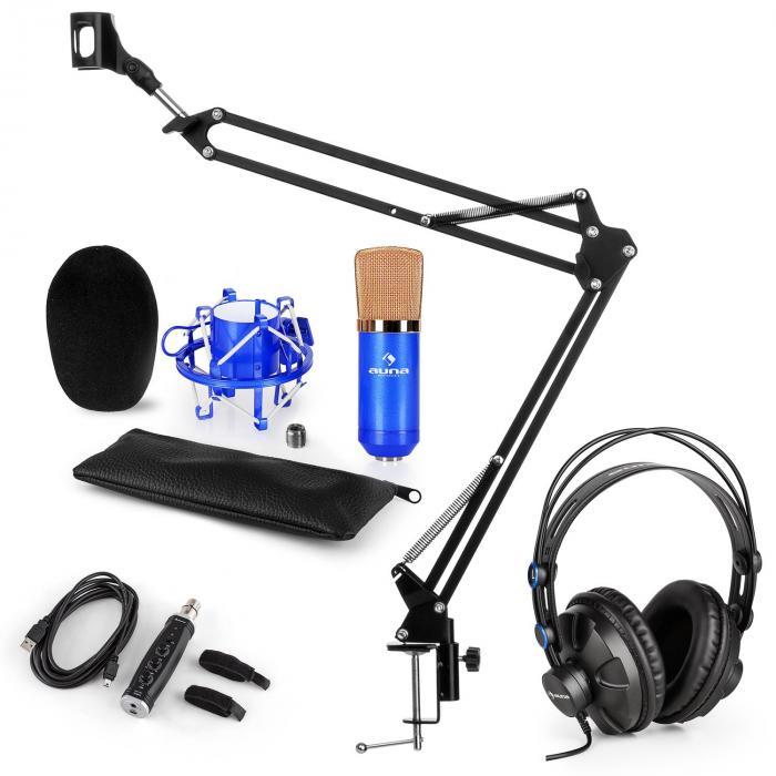 CM001BGMikrofon-Set V3 Kopfhörer Kondensator USB-Adapter Mikrofonarm blau