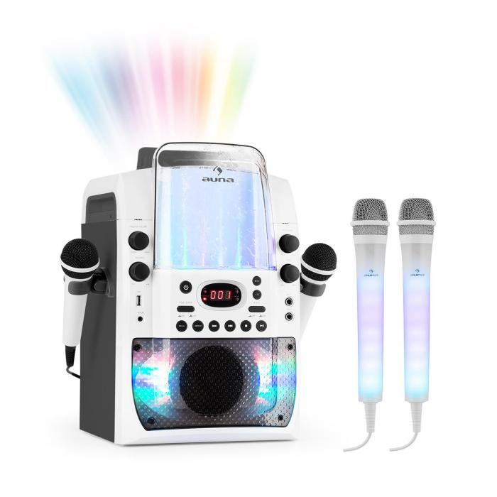 Kara Liquida BT Grey + Dazzl Mic Set Karaoke System Microphone LED Lighting