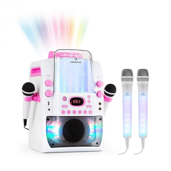 Audio & Hi Fi|Karaoke Kara Liquida BT Pink + Dazzl Mic Set Karaoke System Microphone LED Lighting