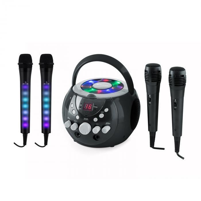SingSing Black + Dazzl Mic Set Karaoke System Microphone LED lighting