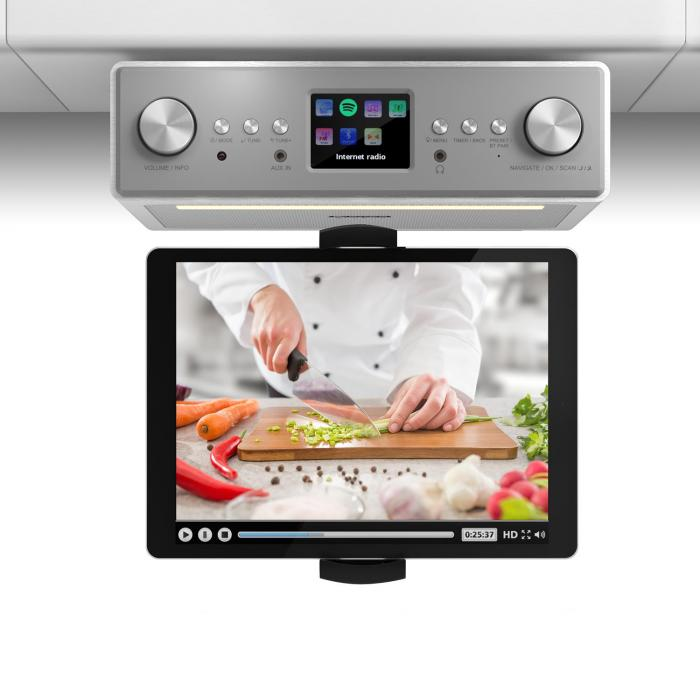 "Radio/Cassette Players|Radio Connect Soundchef Kitchen Radio with Tablet Holder DAB + FM 2x3"" Boxes White"