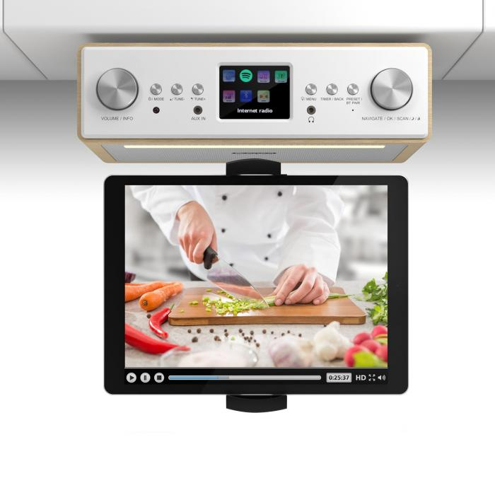 "Radio/Cassette Players|Radio Connect Soundchef Kitchen Radio with Tablet Holder DAB + FM 2x3"" Boxes Beech"