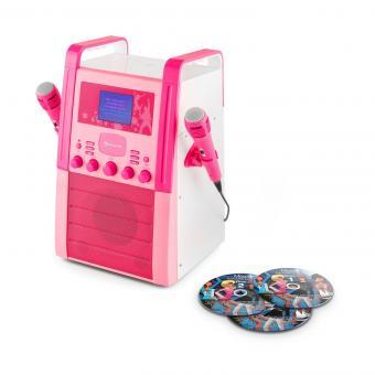 Funktion /• AUX-Eingang /• pink auna KA8P-V2 PK /• Karaoke Anlage /• Kinder Karaoke Player /• Karaoke Set /• 2 x Mikrofon /• Lautsprecher /• CD-Player /• A.V.C
