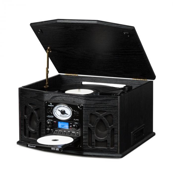 NR 620 Cha u00eene hifi stéréo tourne disque enregistrement MP3 en bois noir Noir  auna fr # Chaine Hifi Retro Bois