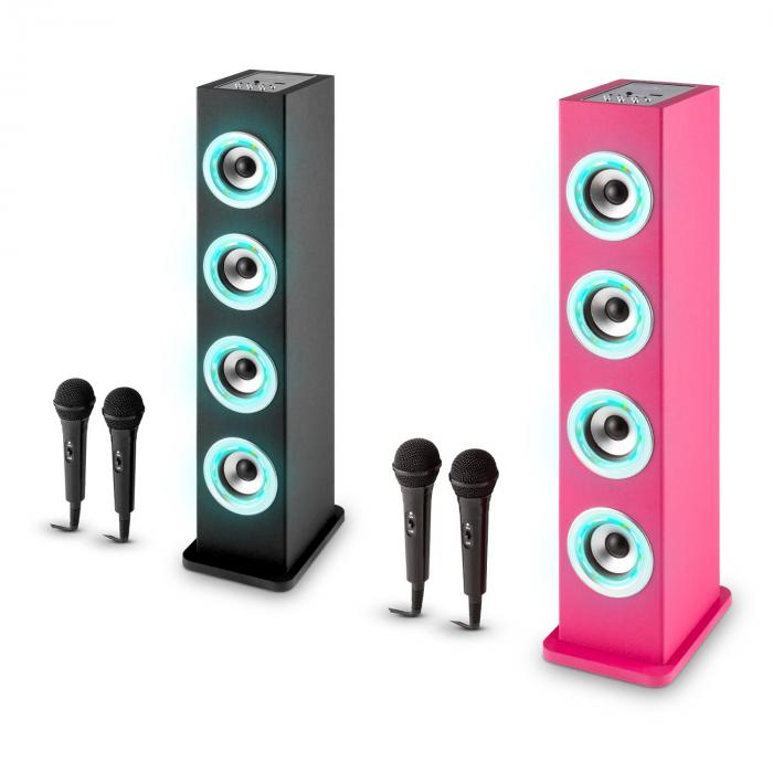 karaboom led bluetooth lautsprecher usb aux karaoke 2x mikrofon pink online kaufen. Black Bedroom Furniture Sets. Home Design Ideas