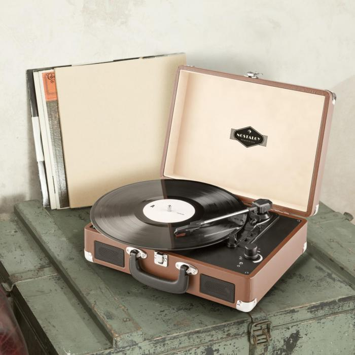 peggy sue record collector set tourne disque r tro valise vinyles marron. Black Bedroom Furniture Sets. Home Design Ideas