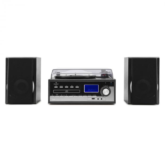 blackwood stereoanlage plattenspieler usb mp3 encoding cd kassette ukw aux schwarz online kaufen. Black Bedroom Furniture Sets. Home Design Ideas