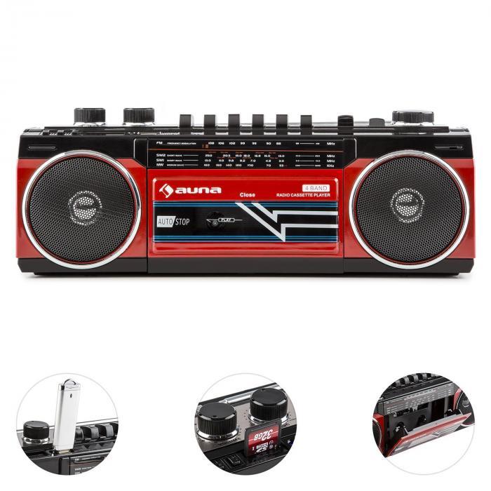 duke retro kassettenradio tragbarer kassettenplayer usb sd. Black Bedroom Furniture Sets. Home Design Ideas