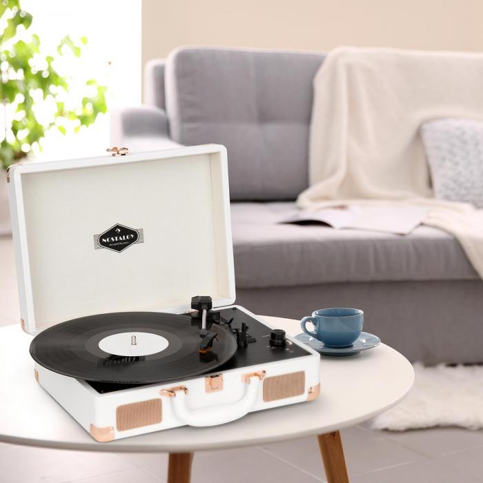 nostalgy by auna peggy sue platine vinyle r tro lp usb aux blanc. Black Bedroom Furniture Sets. Home Design Ideas