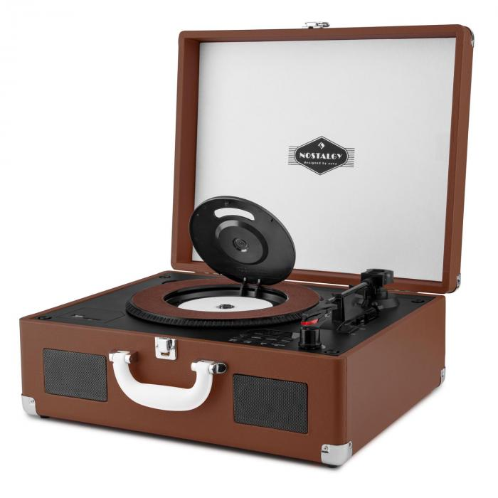 peggy sue cd portable retro cd record player cd usb sd dark brown brown purchase online. Black Bedroom Furniture Sets. Home Design Ideas