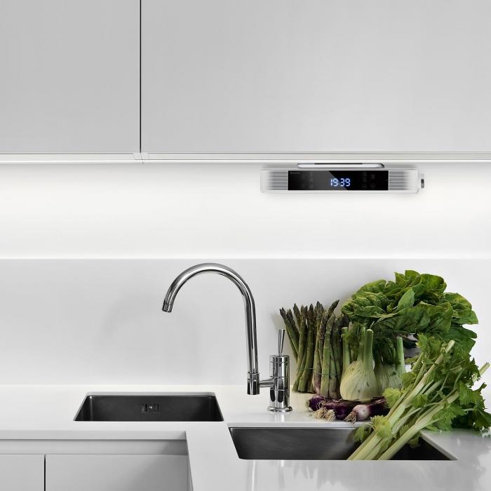KR-140 Radio da Cucina Bluetooth Vivavoce Tuner OUC Luci LED bianco