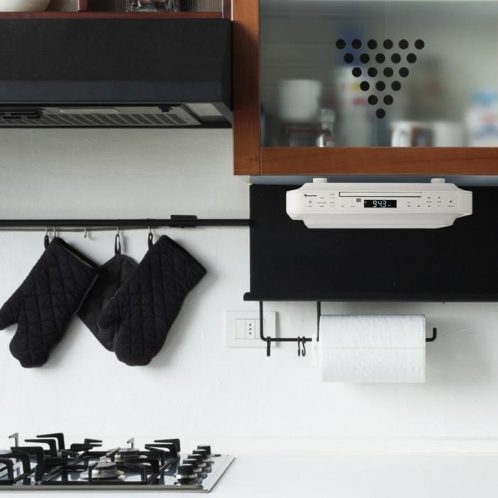 krcd 100 bt radio de cuisine encastrable bluetooth cd mp3 aux blanc blanc. Black Bedroom Furniture Sets. Home Design Ideas