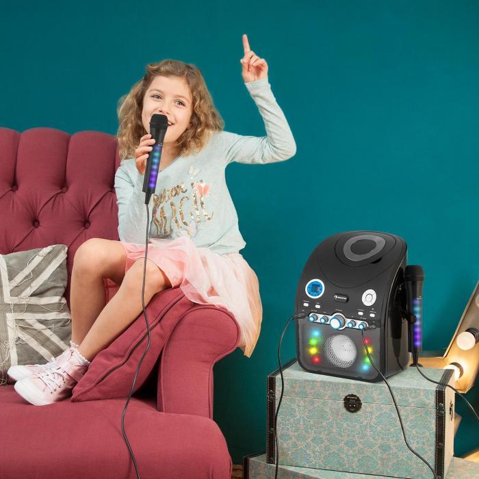 kara dazzl microphone de karaok avec effet de lumi re led noir noir. Black Bedroom Furniture Sets. Home Design Ideas