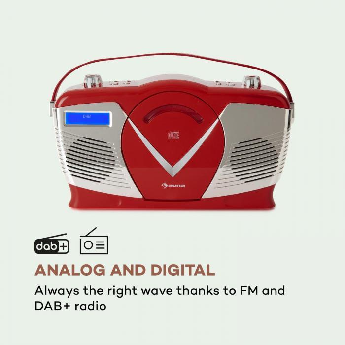 rcd 70 dab radio fm dab lecteur cd usb bluetooth look r tro rouge rouge. Black Bedroom Furniture Sets. Home Design Ideas