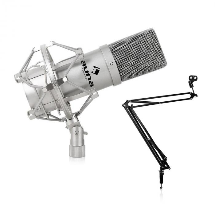 Studio Microphone Set W Usb Mic In Silver Amp Mic Table Stand