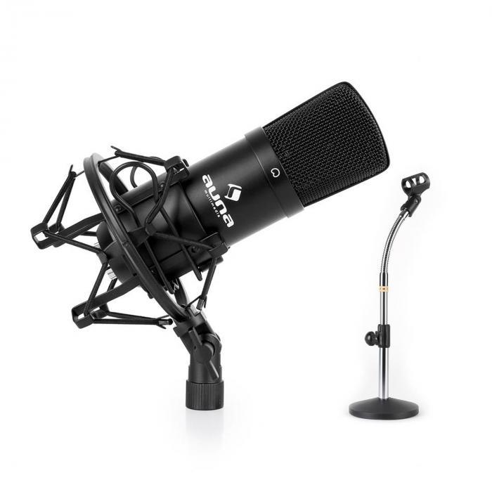 Studio Microphone Set W Xlr Condenser Mic Black Amp Mic Table