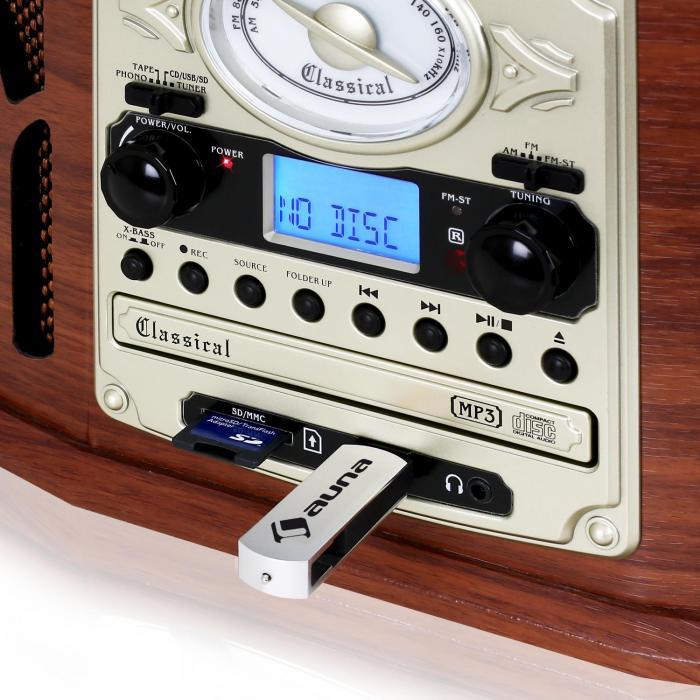 Chaine Hifi Retro Bois - NR 620 Cha u00eene hifi stéréo tourne disque enregistrement en bois marron Acajou  auna fr