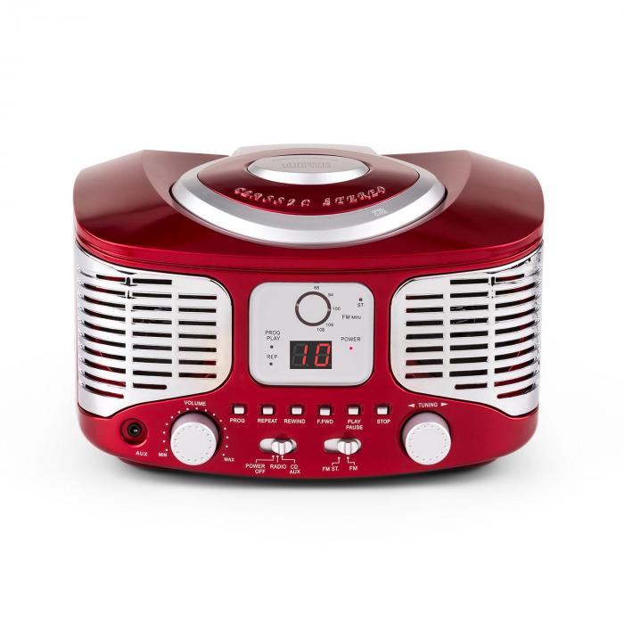 rcd320 retro cd player ukw aux rot rot online kaufen. Black Bedroom Furniture Sets. Home Design Ideas