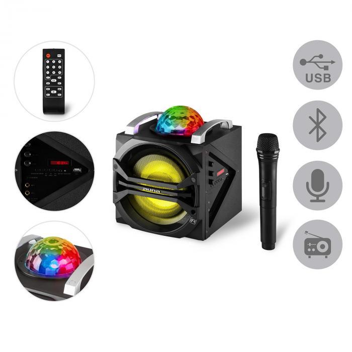 disgo box 65 party lautsprecher akku bluetooth usb mp3 ukw led lichteffekt online kaufen. Black Bedroom Furniture Sets. Home Design Ideas