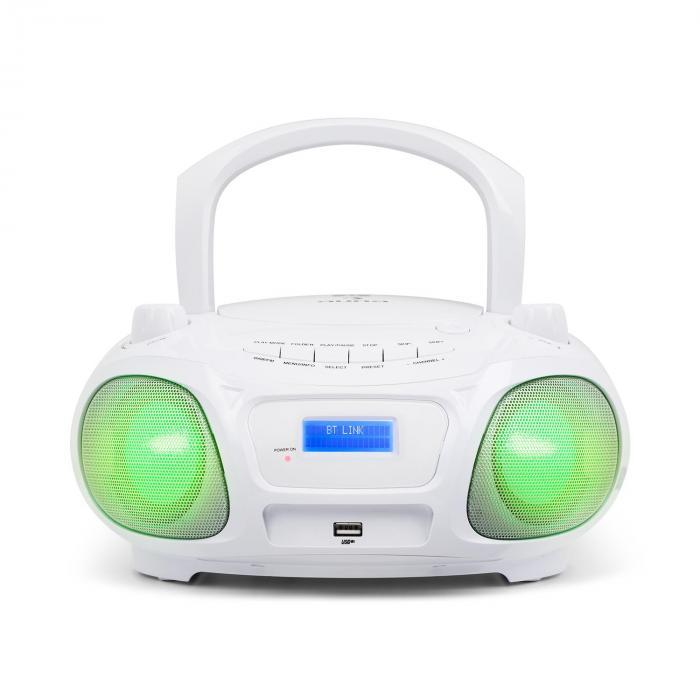 roadie dab lecteur cd dab dab fm usb bluetooth effet disco led blanc blanc. Black Bedroom Furniture Sets. Home Design Ideas