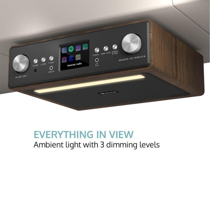 connect soundchef kitchen radio with tablet holder dab fm 2x3 boxes walnut - Kitchen Radio