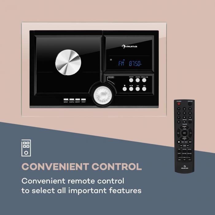 Stereosonic impianto stereo montaggio a parete lettore cd usb bt nero nero - Lettore cd da parete ...
