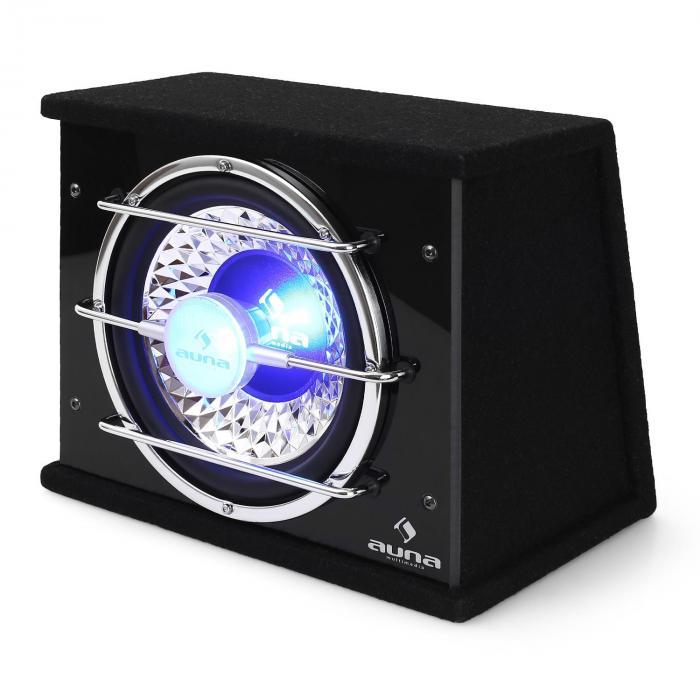 subwoofer caisson basse 25cm led 300w rms sono auto car sub 25 cm 10. Black Bedroom Furniture Sets. Home Design Ideas