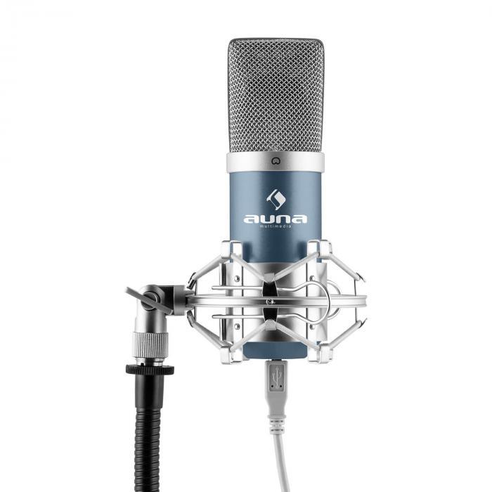 mic 900bl usb set microphone v3 micro condensateur perchette cardio de bleu. Black Bedroom Furniture Sets. Home Design Ideas