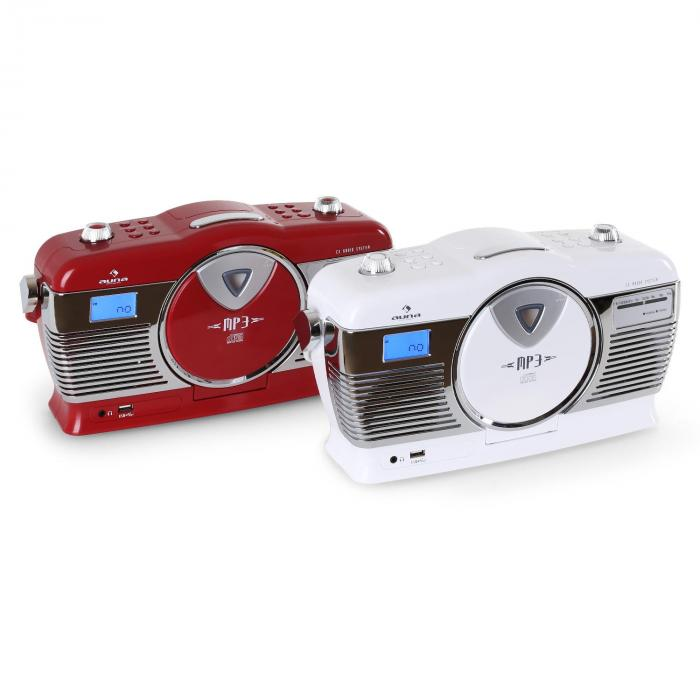 rcd 70 retro vintage portable radio fm cd mp3 usb battery red red purchase online. Black Bedroom Furniture Sets. Home Design Ideas