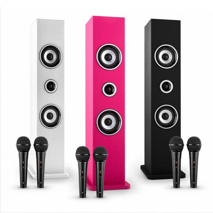 karaboom bluetooth lautsprecher usb aux karaoke 2 x mikrofon schwarz online kaufen. Black Bedroom Furniture Sets. Home Design Ideas