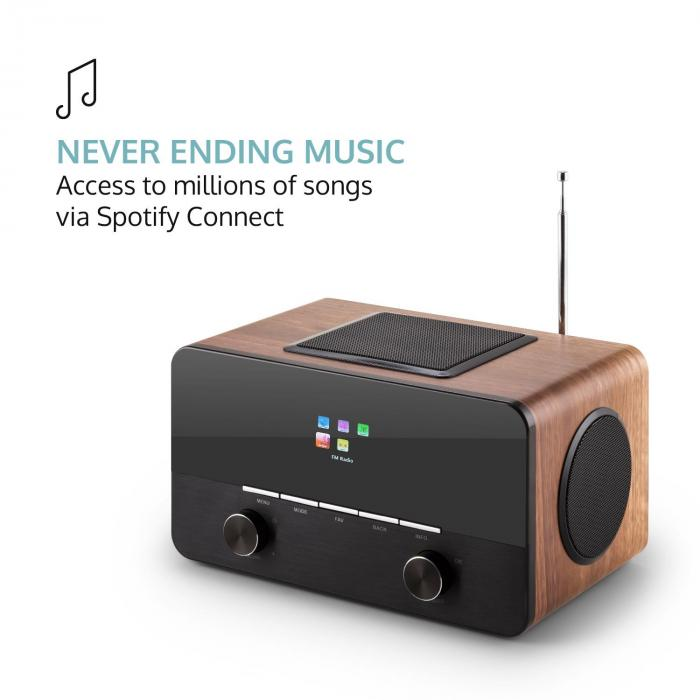 connect 150 2 1 internet radio alarm clock media player wifi usb spotify walnut purchase online. Black Bedroom Furniture Sets. Home Design Ideas
