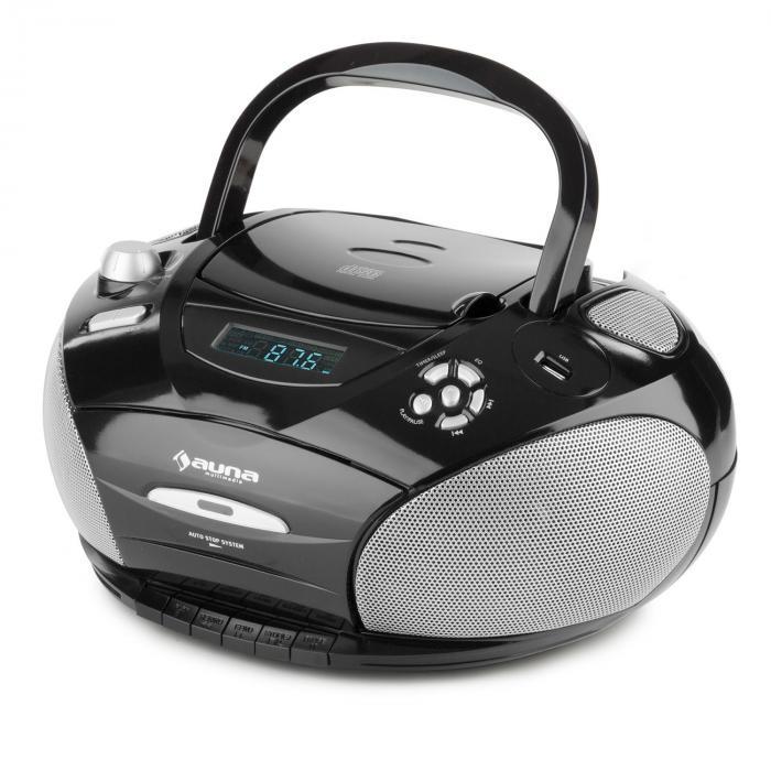 rcd220 boombox cd usb lecteur k7 radio fm pll mp3 2x2w noir noir. Black Bedroom Furniture Sets. Home Design Ideas