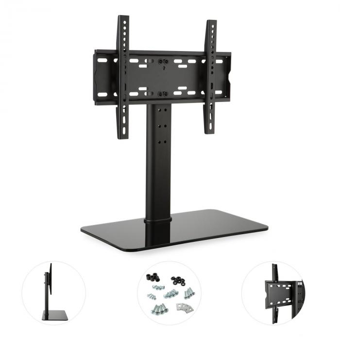 support tv taille m hauteur 56 cm r glable en hauteur 23 47 pouces pied en verre noir pied en. Black Bedroom Furniture Sets. Home Design Ideas