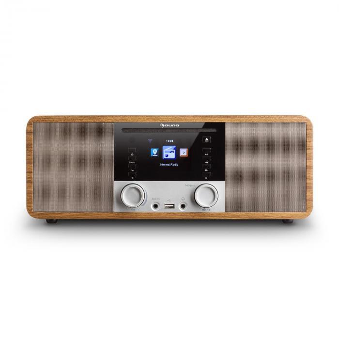 ir 190 radio internet bluetooth lecteur cd wifi upnp usb mp3 aux marron noyer. Black Bedroom Furniture Sets. Home Design Ideas