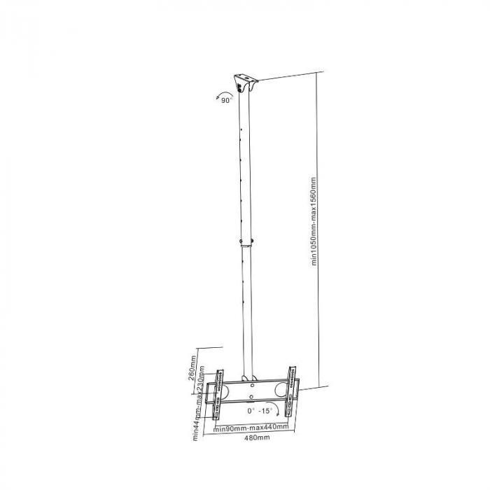 plb ce424 fixation tv murale plafond universelle 43 107cm 17 42. Black Bedroom Furniture Sets. Home Design Ideas
