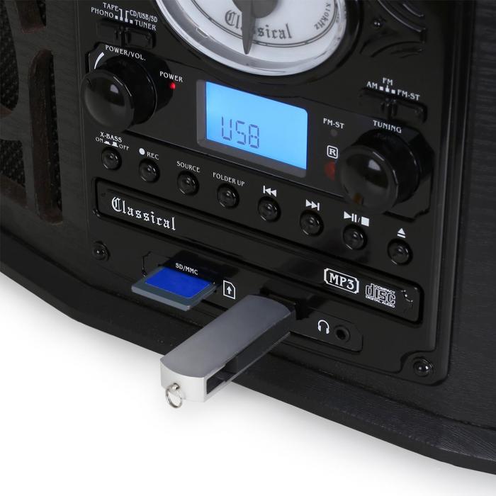 NR 620 Cha u00eene hifi stéréo tourne disque enregistrement MP3 en bois noir Noir  auna fr