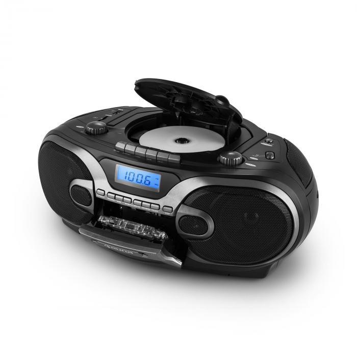 rcd 230 stereo portatile radio cd mp3 cassette sd usb am fm nero. Black Bedroom Furniture Sets. Home Design Ideas