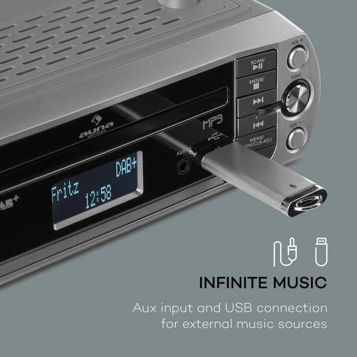 Kr 400 cd radio da cucina dab pll fm lettore cd mp3 argento argento - Lettore cd da parete ...