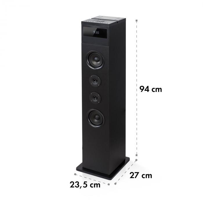 karaboom 100 enceinte colonne bluetooth radio fm usb 120w max noire noir. Black Bedroom Furniture Sets. Home Design Ideas