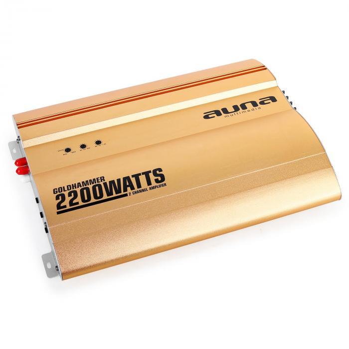 auna Goldhammer /• Car HiFi Verst/ärker /• 2-Kanal Auto-Endstufe /• Car Amplifier /• 2200 Watt max /• Hoch /& Tiefpassfilter /• Gain Regler /• Super Bass /• br/ückbar /• 2//1-Kanal Betrieb /• Status LED /•