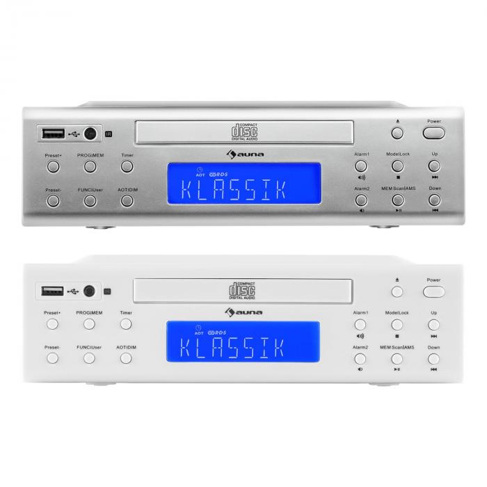 krcd 150 radio cuisine encastrable cd usb aux fm r veil t l commande blanc blanc. Black Bedroom Furniture Sets. Home Design Ideas