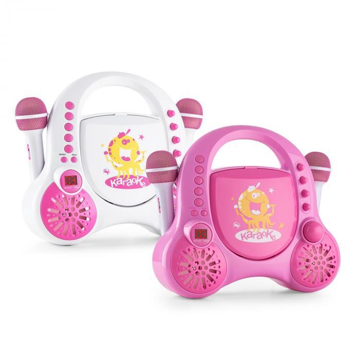 Rockpocket-A PK Kinder-Karaokesystem CD AUX 2x Mikrofon Akku pink ...