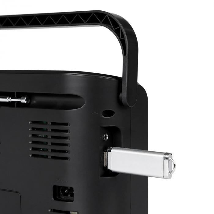 boomtown usb poste radio fm et lecteur cd portable mp3 noir noir. Black Bedroom Furniture Sets. Home Design Ideas
