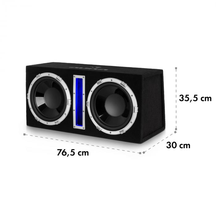 basswaver x12l subwoofer de voiture actif 2x 30cm 12 1200w led. Black Bedroom Furniture Sets. Home Design Ideas