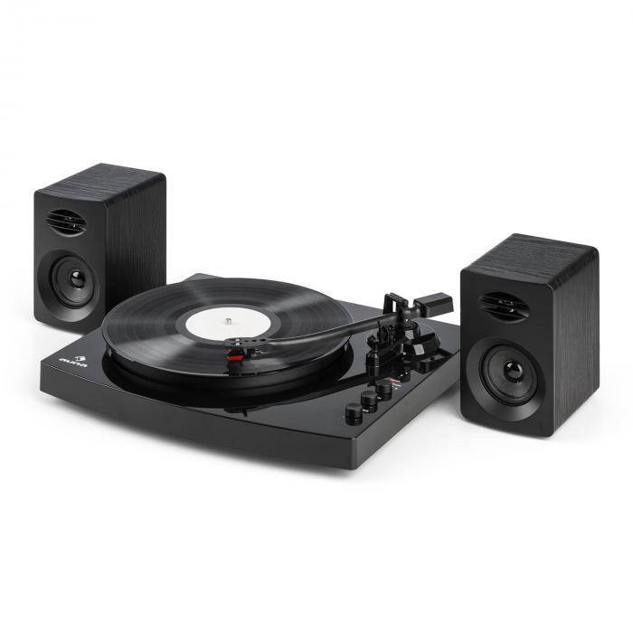 tt play platine vinyle 2 vitesses 2 enceintes st r o 3 10w interface noir. Black Bedroom Furniture Sets. Home Design Ideas